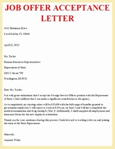 Internship Offer Letter Template Elegant Job Offer Acceptance Letter Letter