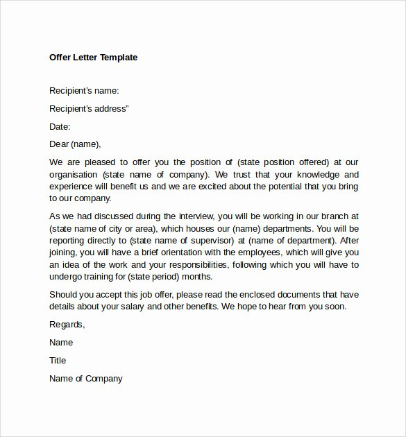 Internship Offer Letter Template Elegant Sample Fer Letter Template 14 Free Examples format