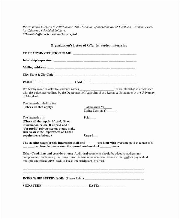 Internship Offer Letter Template Fresh 10 Sample Internship Fer Letters Pdf Doc Apple Pages