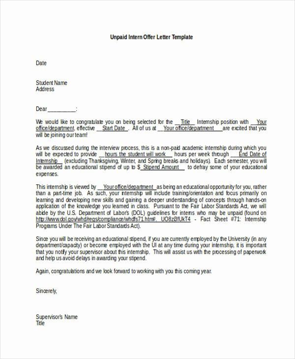 Internship Offer Letter Template Fresh 25 Job Fer Letter Example