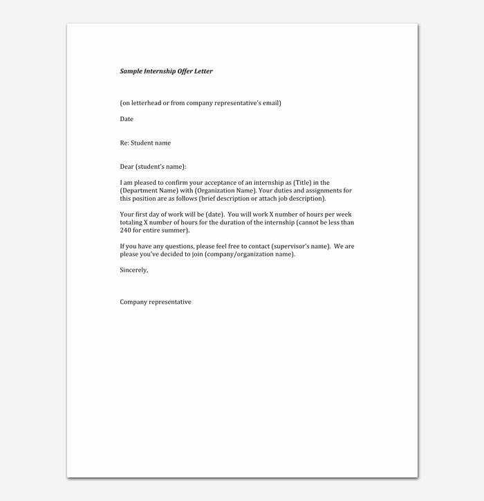Internship Offer Letter Template Inspirational Internship Appointment Letter 17 Letter Samples & formats