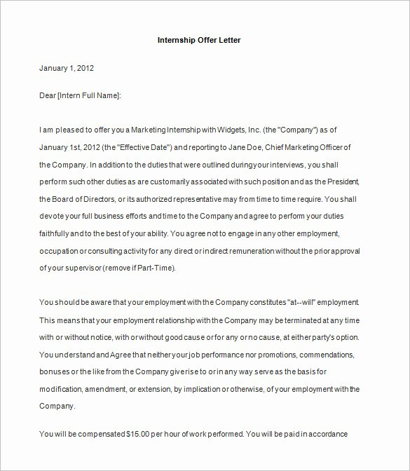 Internship Offer Letter Template Luxury 31 Fer Letter Templates – Free Word Pdf format