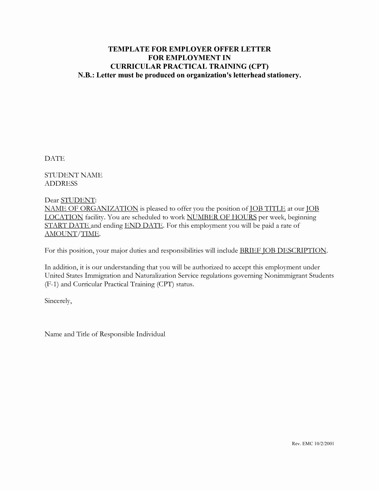 Internship Offer Letter Template Luxury Job Fer Letter Template