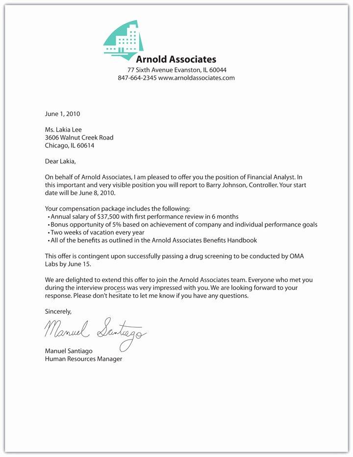 Internship Offer Letter Template New Job Fer Letter Template