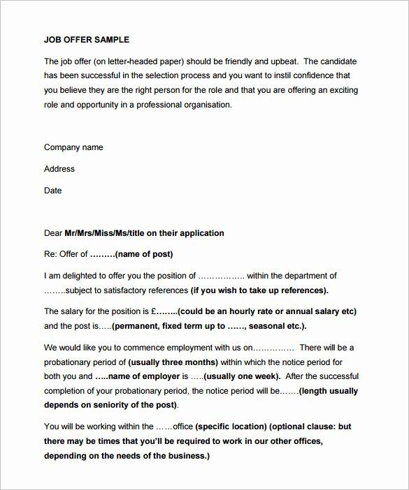 Internship Offer Letter Template Unique 31 Fer Letter Templates – Free Word Pdf format