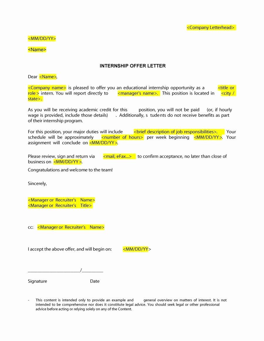 Internship Offer Letter Template Unique Best Fer Letter Samples & Templates Job Employment