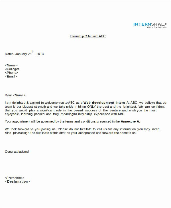 Internship Offer Letter Template Unique Fer Letter Templates In Doc 46 Free Word Pdf