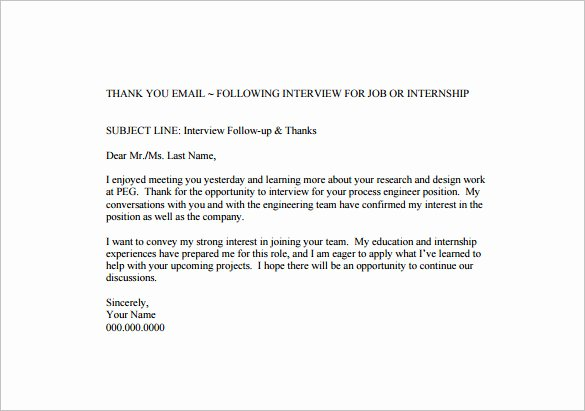 Interview Follow Up Email Template Awesome 14 Thank You Email after Interview Doc Excel Pdf