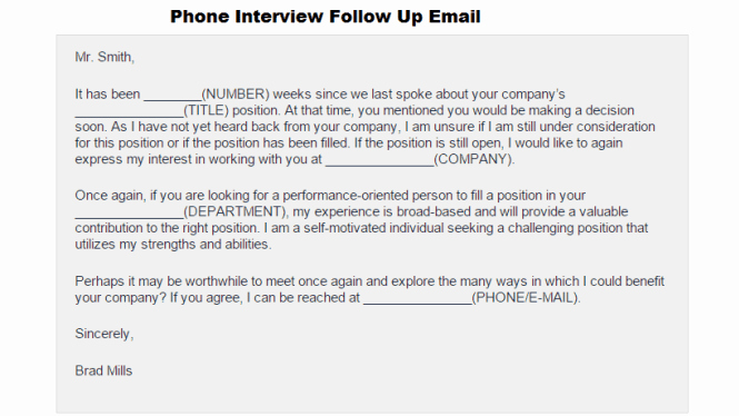 Interview Follow Up Email Template Inspirational 3 Free Phone Interview Follow Up Email Templates Word