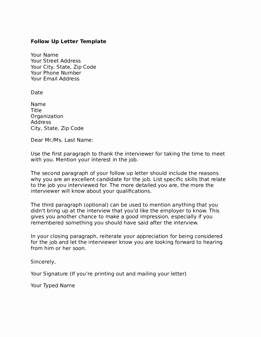 Interview Follow Up Email Template Inspirational Follow Up Letter after Interview