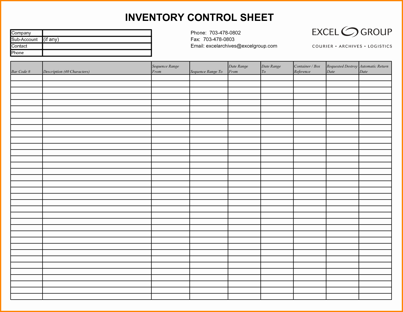 Inventory Sign Out Sheet Template New Inventory Log Sheet