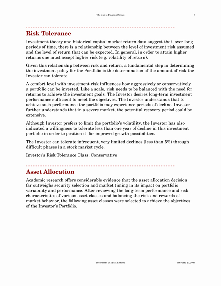 Investment Policy Statement Template Awesome Standard Investment Policy Statement Free Download