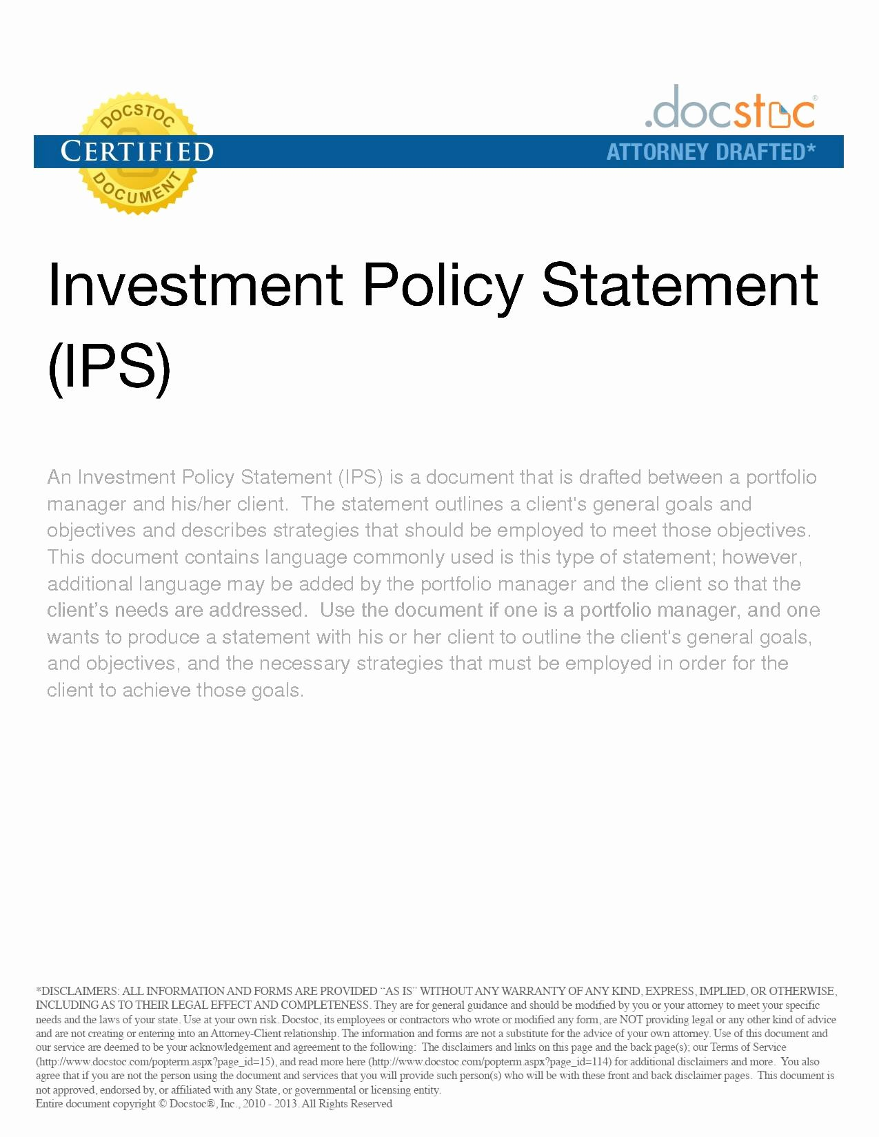 Investment Policy Statement Template Beautiful Bizoptimizer Best Template Sample