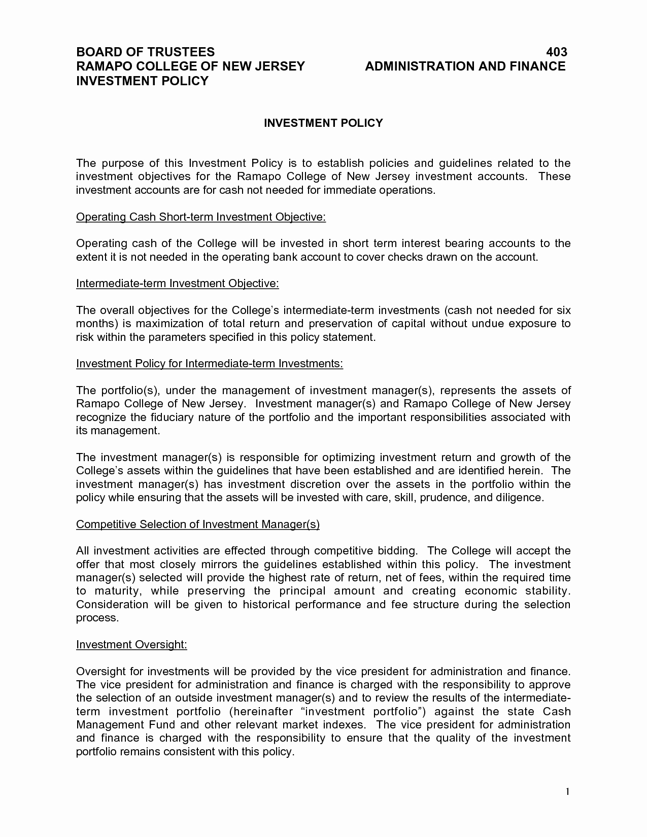 Investment Policy Statement Template Beautiful Investment Policy Statement Template
