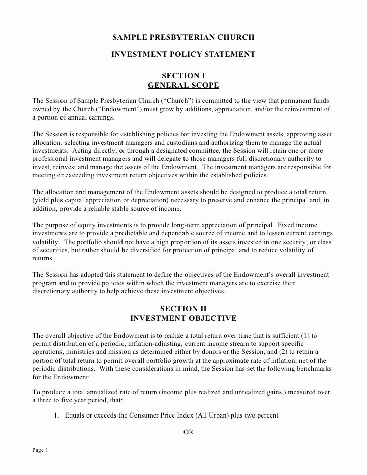Investment Policy Statement Template Beautiful Microsoft Word Document