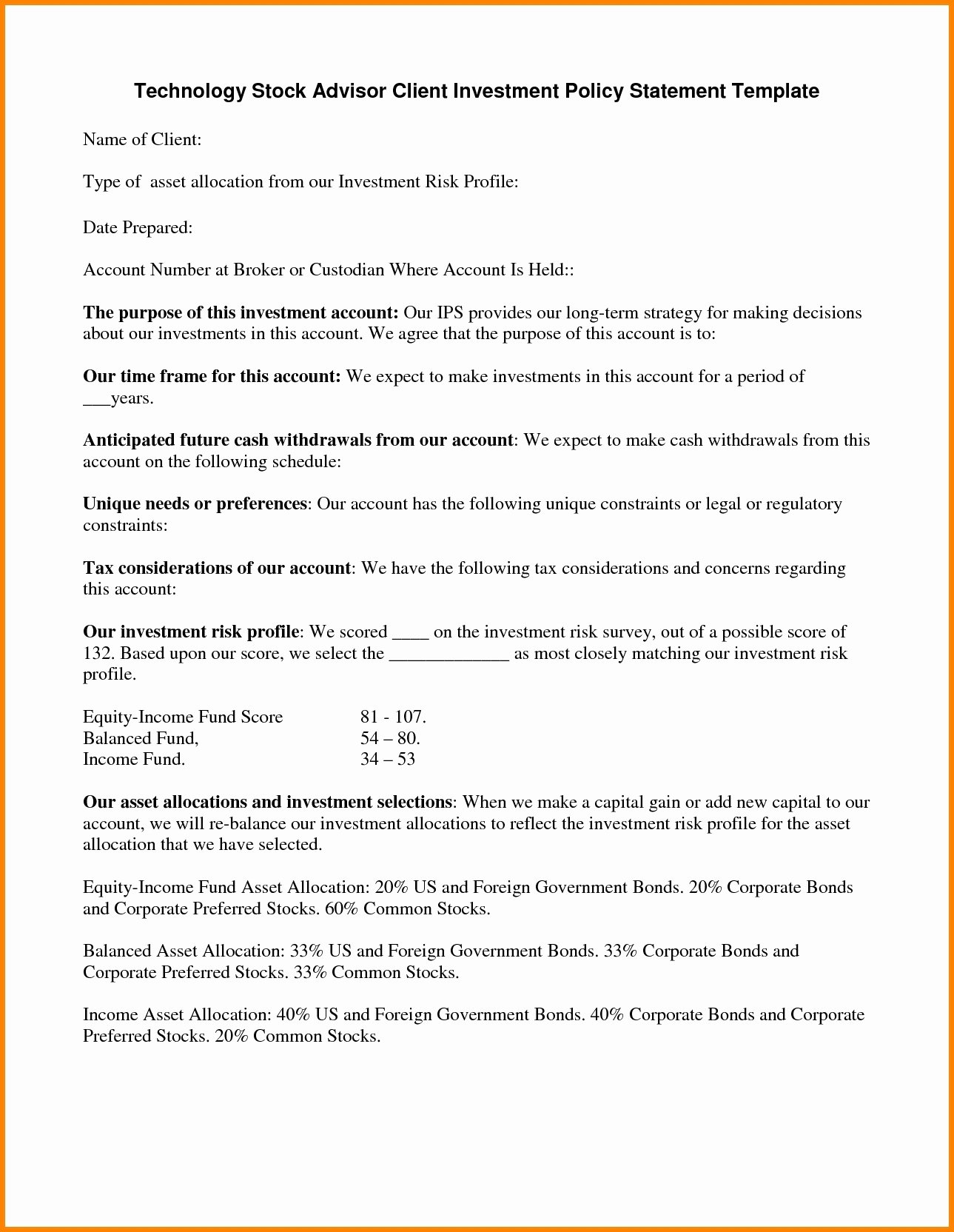 Investment Policy Statement Template Best Of Investment Policy Statement Template