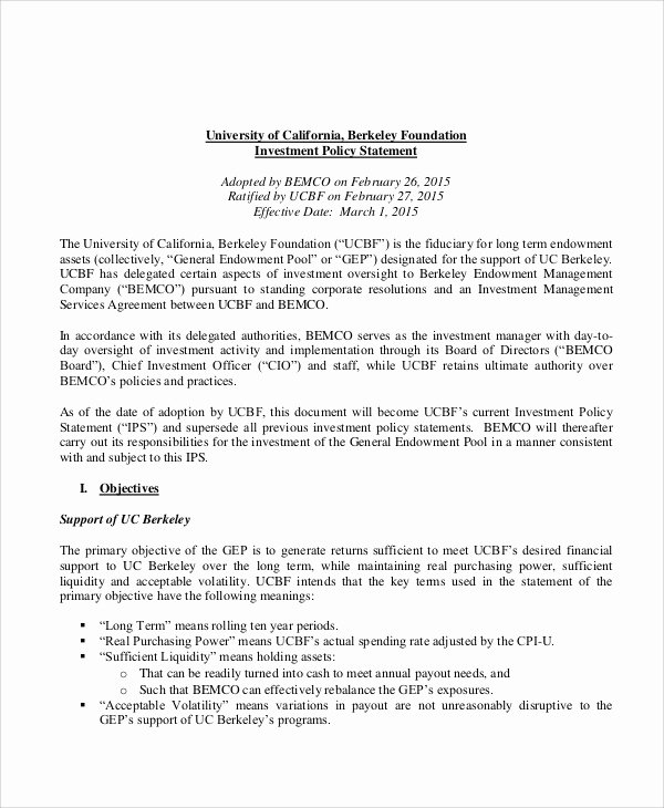 Investment Policy Statement Template Best Of Sample Investment Policy Statement 10 Examples In Word Pdf