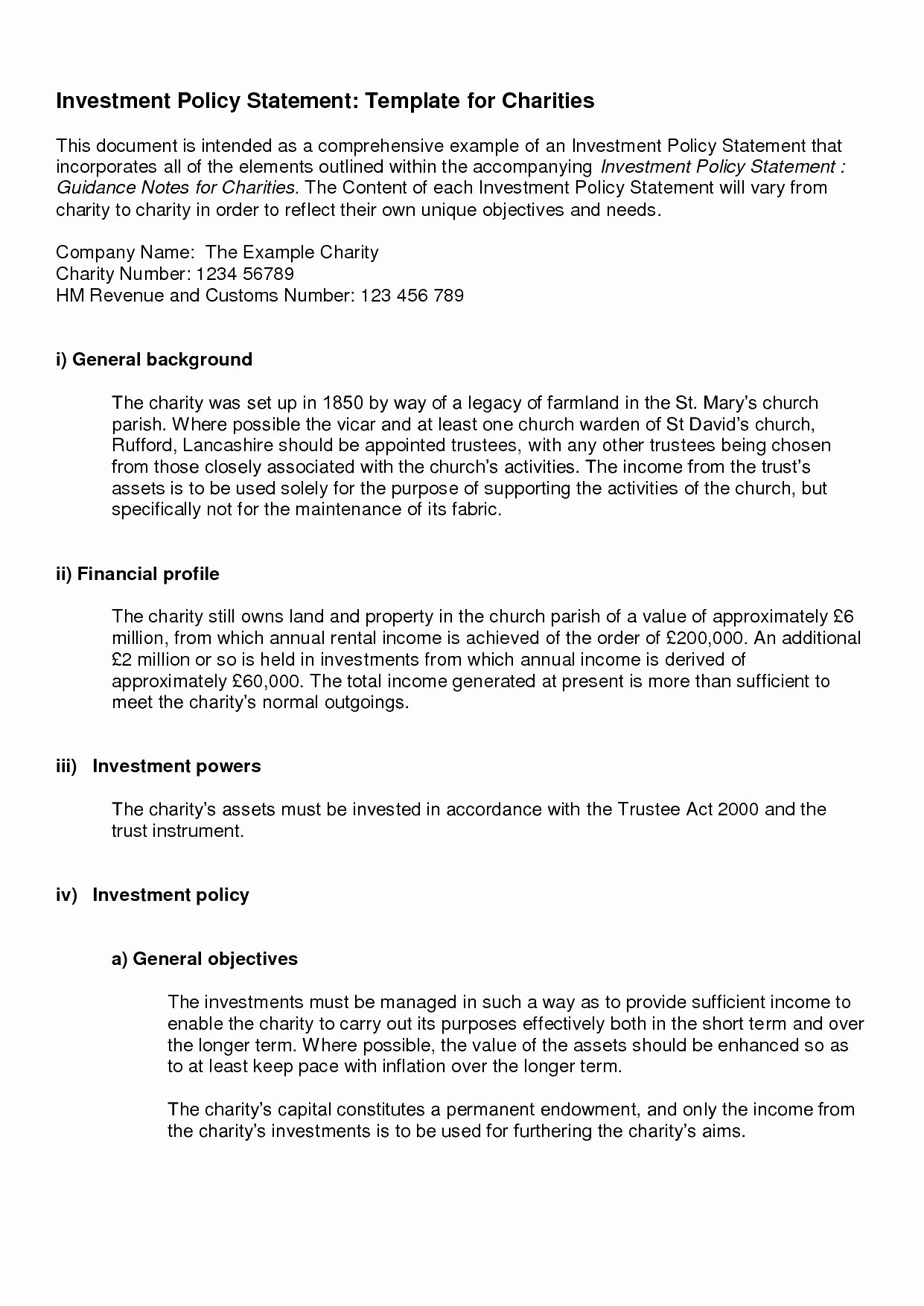 Investment Policy Statement Template Elegant Investment Policy Statement Template