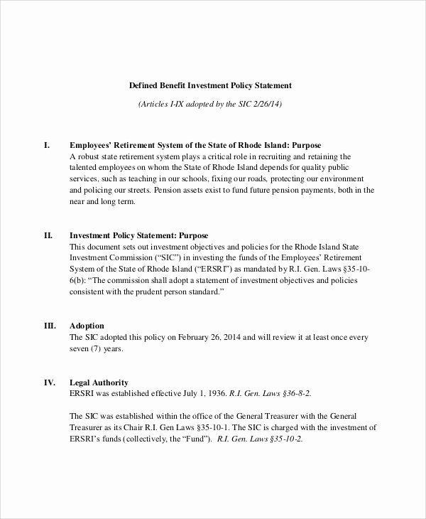 Investment Policy Statement Template Elegant Sample Investment Policy Statement 10 Examples In Word Pdf