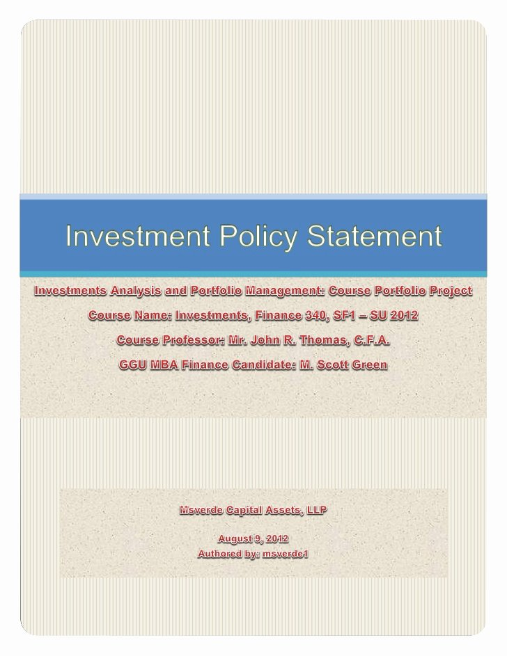 Investment Policy Statement Template Inspirational Investment Policy Statement