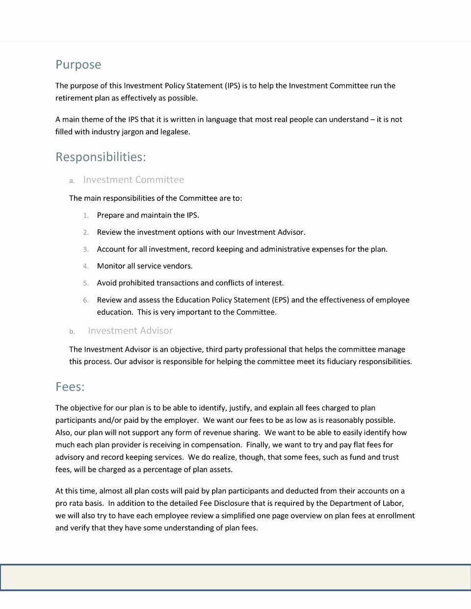 Investment Policy Statement Template Inspirational Investment Policy Statement Template