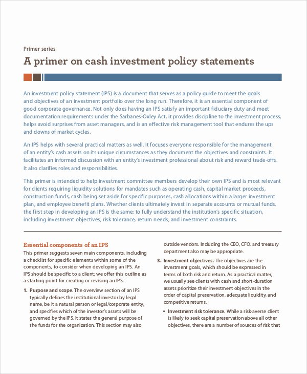 Investment Policy Statement Template Inspirational Investment Policy Statement Template Word Bizoptimizer