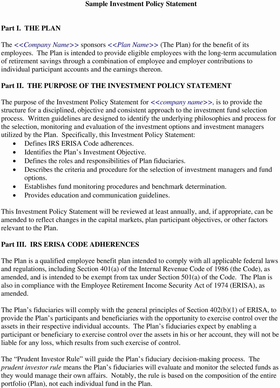 Investment Policy Statement Template Inspirational Sample Investment Policy Statement Pdf