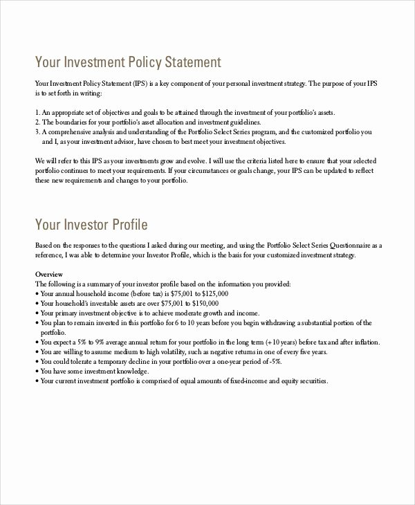 Investment Policy Statement Template Lovely Investment Policy Statement Template Word Bizoptimizer