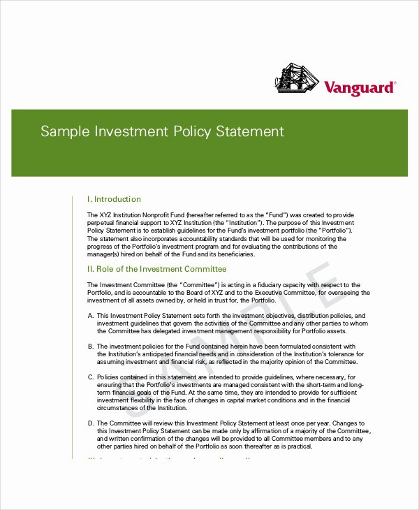 Investment Policy Statement Template Luxury Investment Policy Statement Template Word Bizoptimizer
