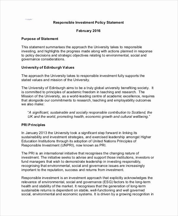 Investment Policy Statement Template Luxury Sample Investment Policy Statement 10 Examples In Word Pdf
