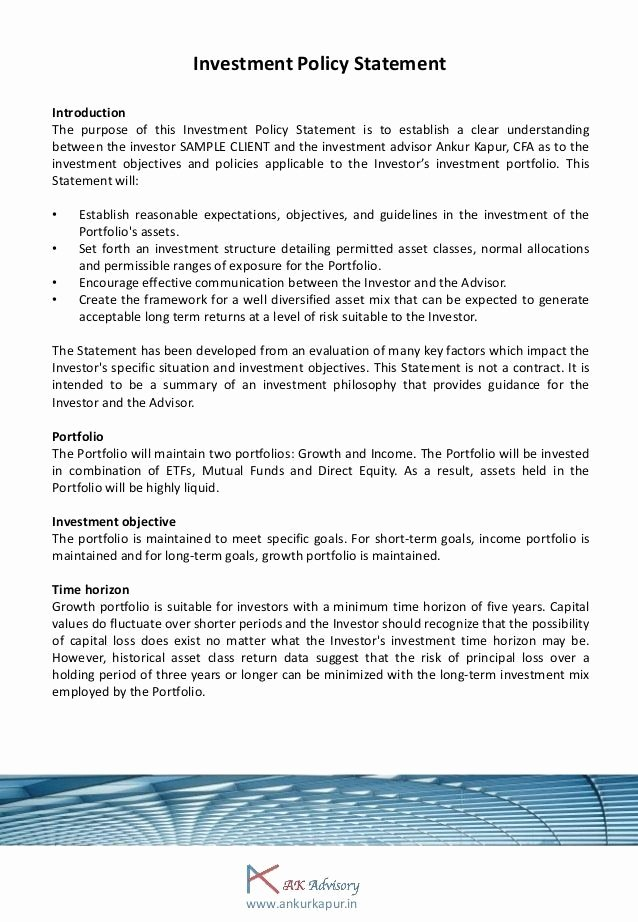 Investment Policy Statement Template Unique Investment Policy Statement Template 2 – Platte Sunga Zette