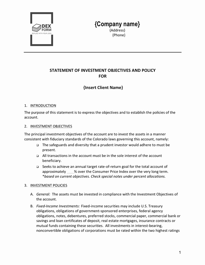 statement of investment objectives and policy template