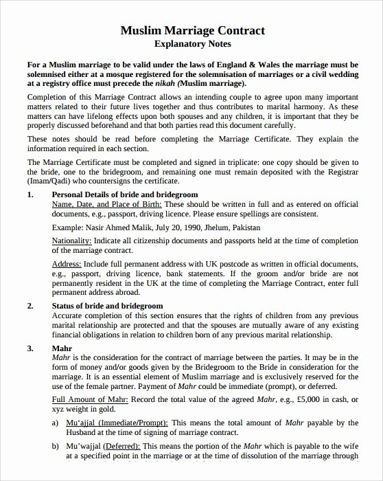 Islamic Marriage Contract Template Awesome Sample Wedding Contract 25 Documents In Pdf Word