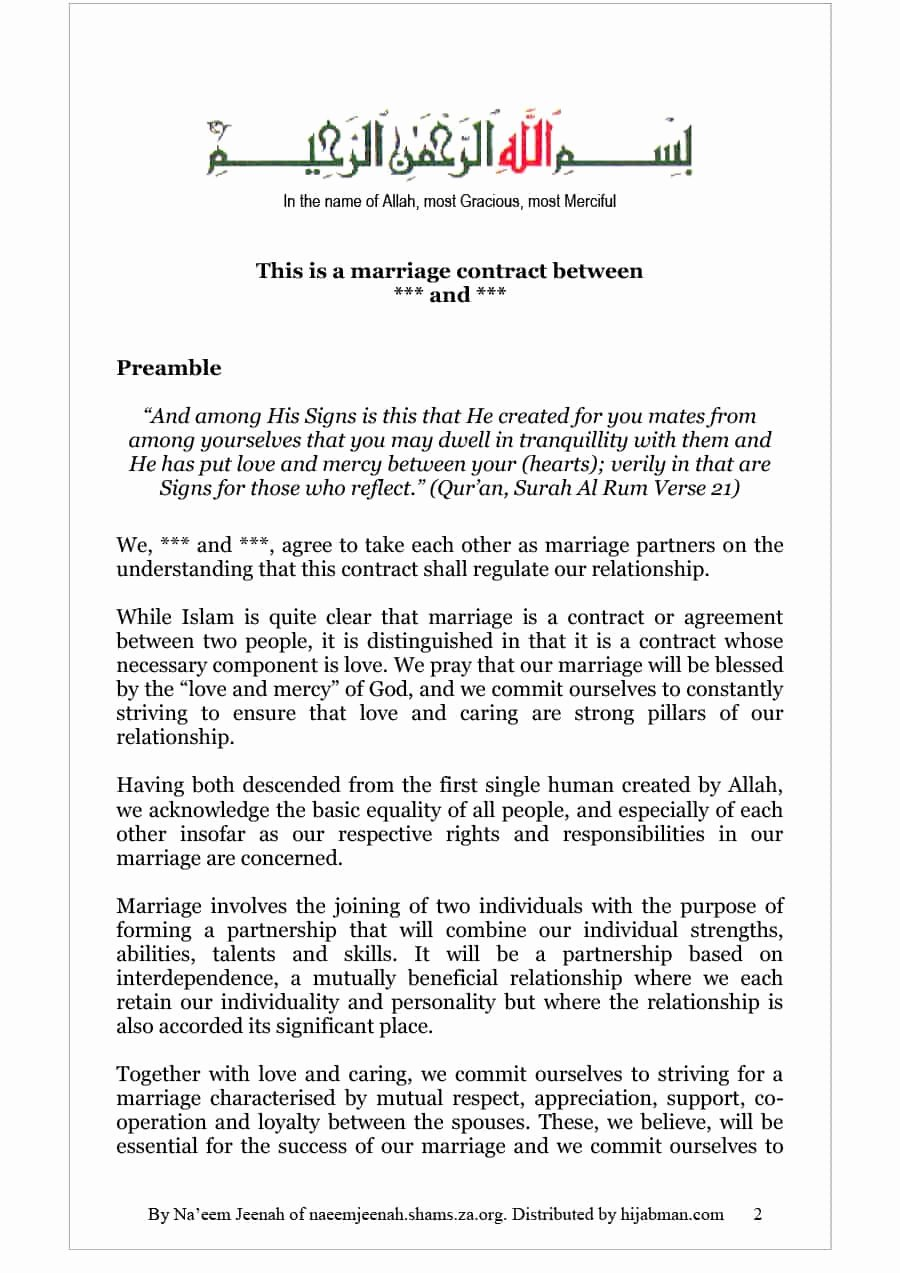 Islamic Marriage Contract Template Best Of 33 Marriage Contract Templates [standart islamic Jewish