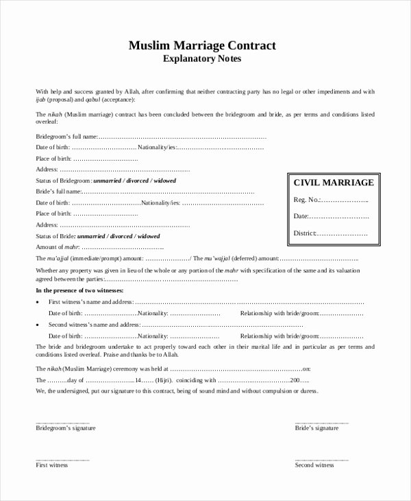 Islamic Marriage Contract Template Best Of Free 8 Sample Marriage Contract forms In Pdf