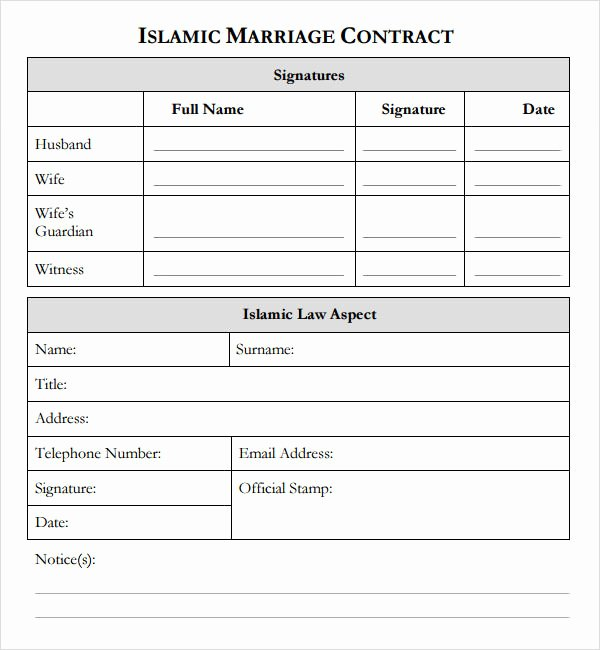 Islamic Marriage Contract Template Elegant islamic Marriage Contract Example
