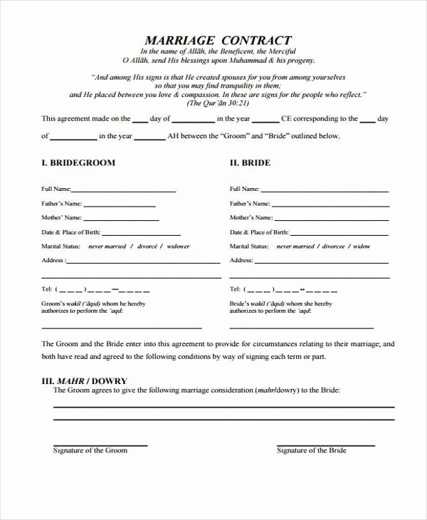 Islamic Marriage Contract Template Elegant islamic Marriage Contract Template 3710