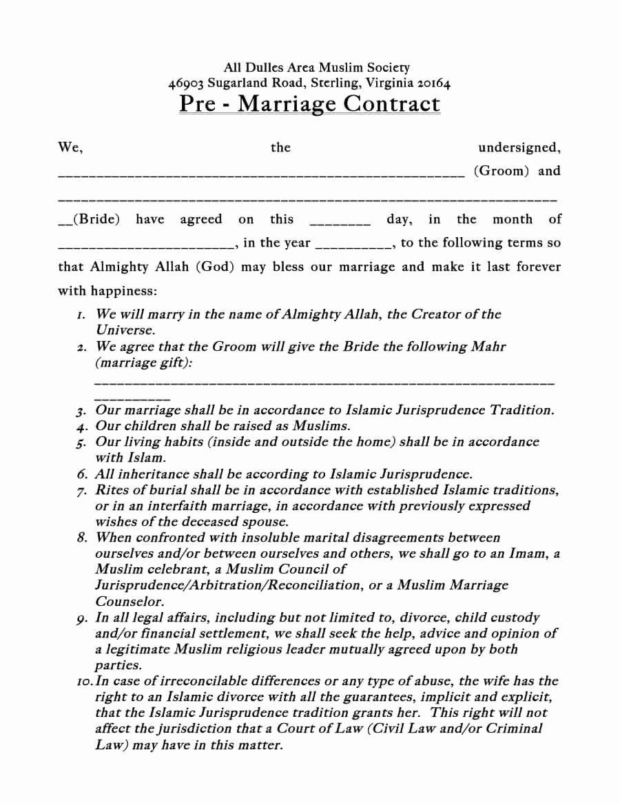 Islamic Marriage Contract Template Lovely 33 Marriage Contract Templates [standart islamic Jewish