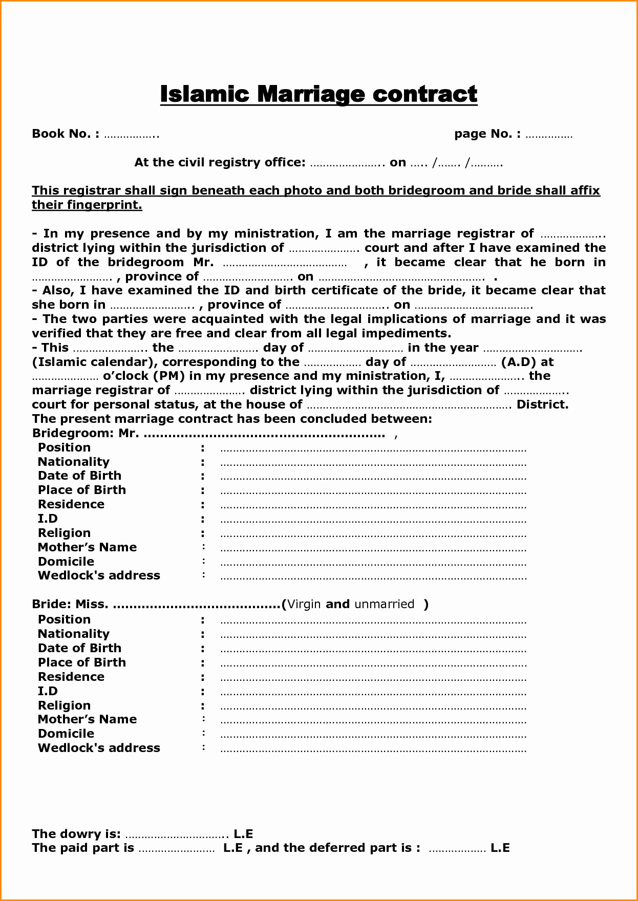 Islamic Marriage Contract Template Lovely Marriage Contract Sample