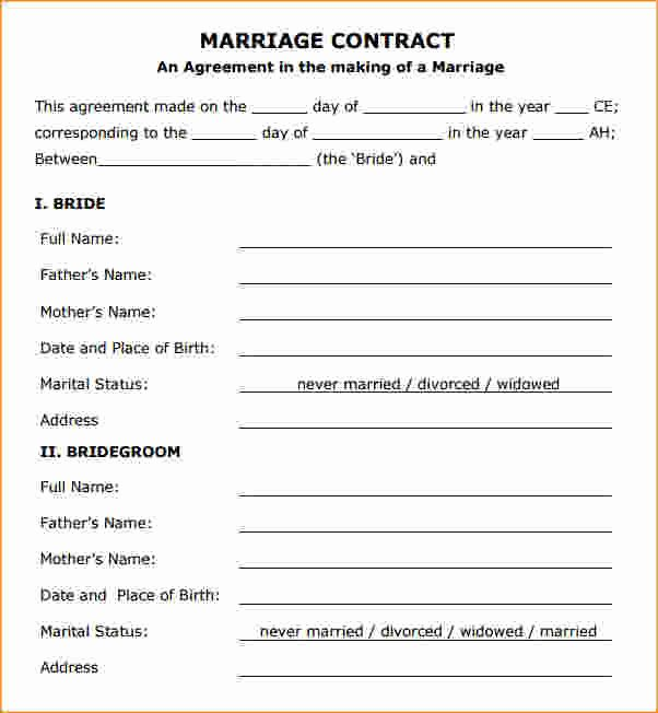 Islamic Marriage Contract Template Luxury Marriage Contract Template