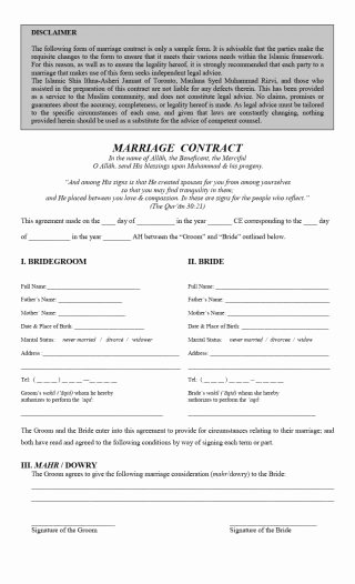 Islamic Marriage Contract Template New 33 Marriage Contract Templates [standart islamic Jewish