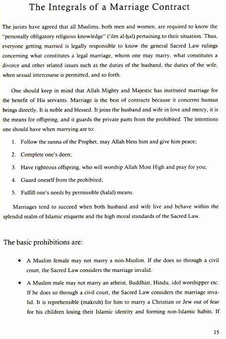 Islamic Marriage Contract Template Unique islamic Marriage Contract