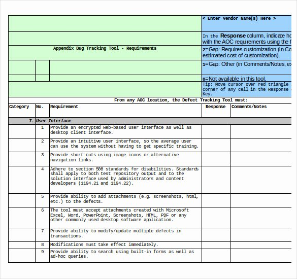 Issue Tracking Template Excel Inspirational Bug Tracking Template – 4 Free Word Excel Pdf Documents