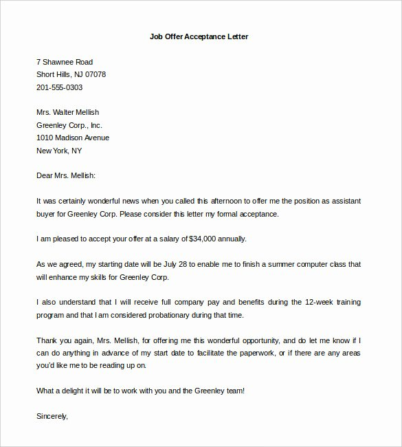 Job Offer Letter Template Word Awesome Fer Letter Template 7 Free Word Pdf Documents