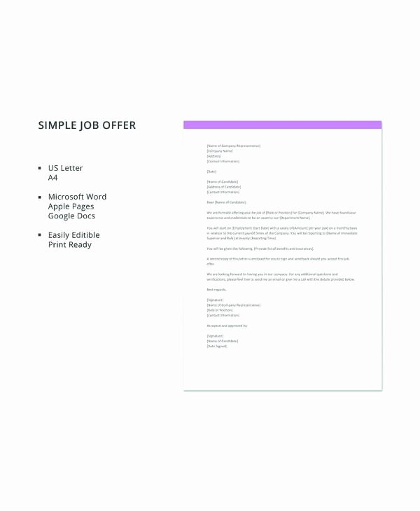 Job Offer Letter Template Word Awesome Free 15 Sample Job Fer Letters In Pdf Word