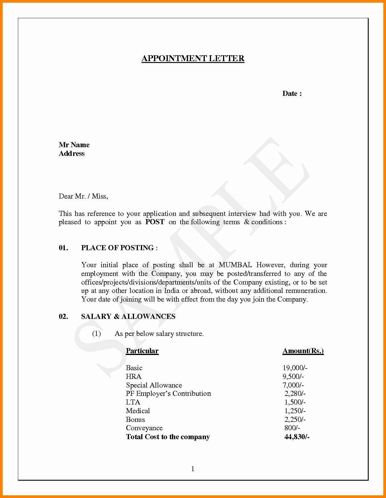 Job Offer Letter Template Word Elegant Job Fer Letter Template Pdf Examples