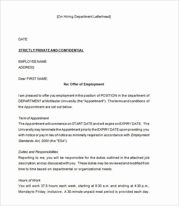 Job Offer Letter Template Word Luxury 31 Fer Letter Templates – Free Word Pdf format