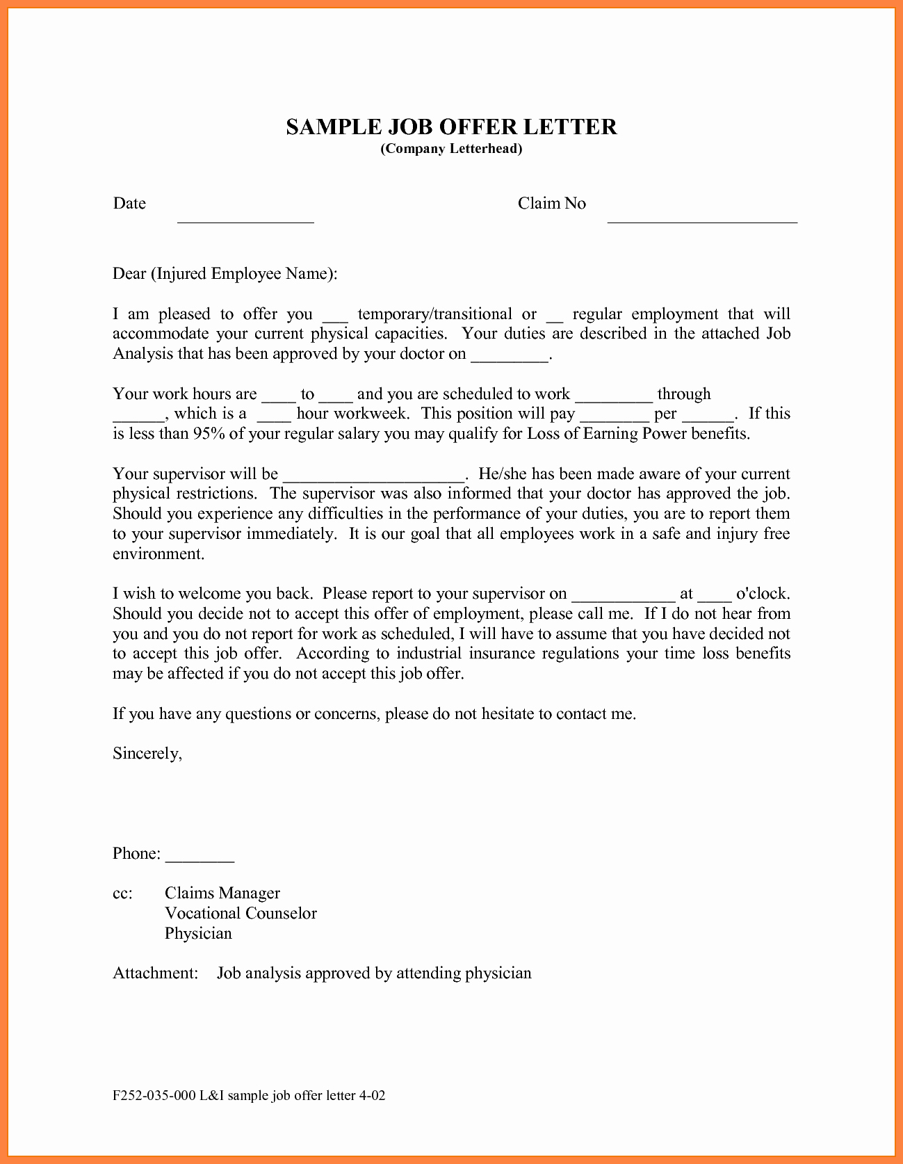 Job Offer Letter Template Word Unique 10 Offer Of Employment Letter