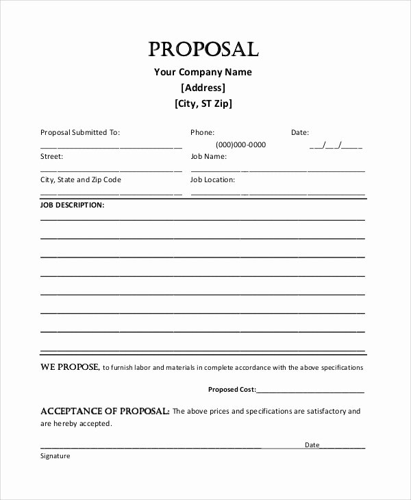 Job Proposal Template Pdf Best Of Sample Job Proposal 5 Examples In Word Pdf