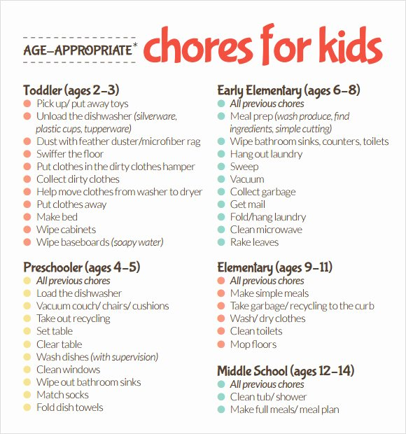 Kids Chore Chart Template Awesome Sample Kids Chore Chart Template 8 Free Documents In